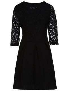 Lace Spliced Round Collar 3/4 Sleeve Black Dress - Black Xl