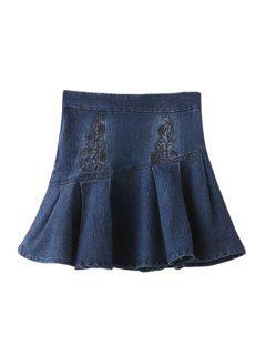 Embroidery High Waist Denim A Line Skirt - Deep Blue L