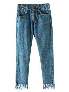 Tassels Solid Color Straight Leg Jeans - Blue L
