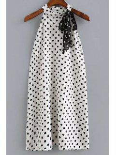 Polka Dot Print Round Neck Sleeveless Dress - White And Black L