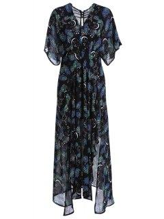 Printed V-Neck Short Sleeve Chiffon Dress - Black