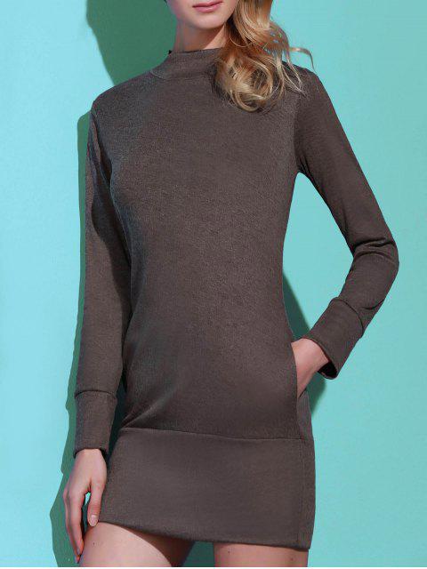 fashion Long Sleeve High Neck Mini Tight Dress - GRAY S Mobile