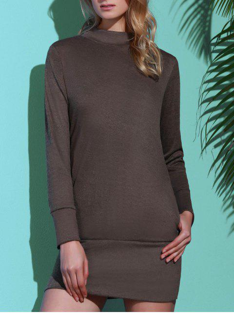 trendy Long Sleeve High Neck Mini Tight Dress - GRAY M Mobile