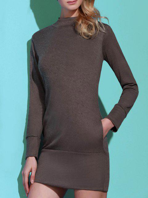 fashion Long Sleeve High Neck Mini Tight Dress - GRAY S Mobile