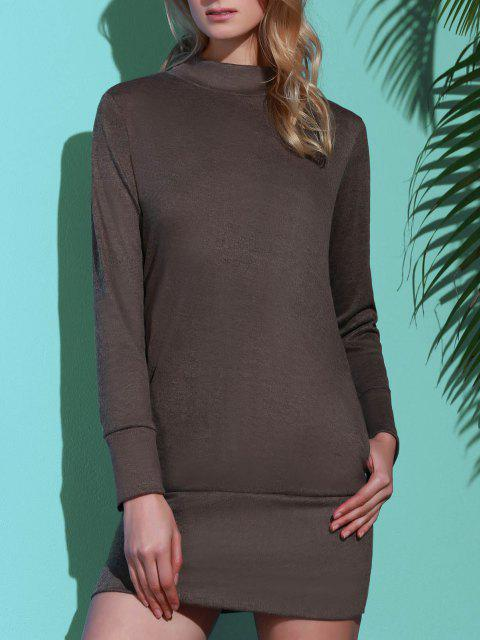 Long Sleeve High Neck Mini Tight Dress - グレー M Mobile