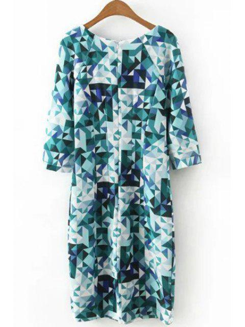 sale 3/4 Sleeve Diamond Print Dress - BLUE S Mobile