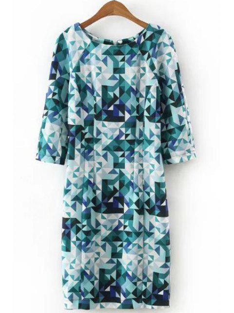 fancy 3/4 Sleeve Diamond Print Dress - BLUE M Mobile