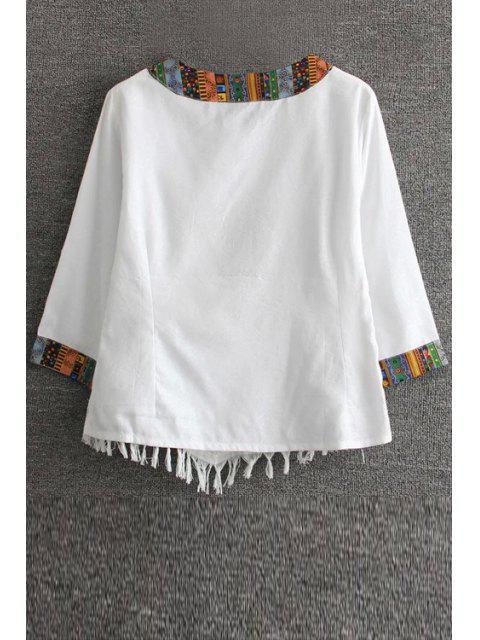 Floral brodé T-shirt ethnique - Blanc 2XL Mobile