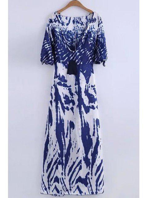 fancy Deep V Neck Printed Long Dress - WHITE XL Mobile