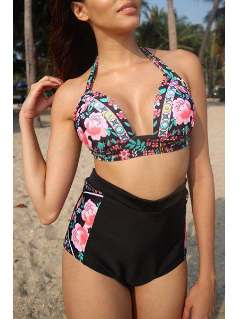 shops High Waisted Floral Print Bikini - BLACK L Mobile
