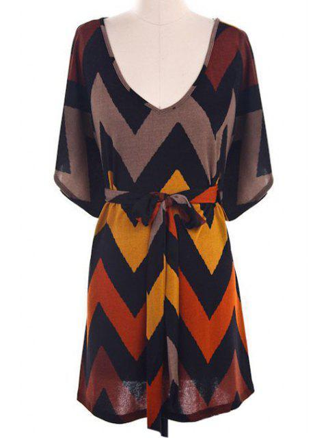 Batwing Sleeve Chevron Stripe Dress - Multicolore M Mobile