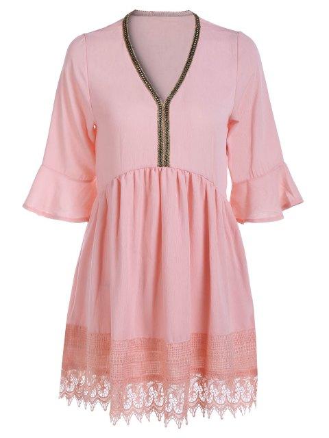 Encaje empalmado cuello en V de la linterna de la blusa de la manga - Rosa Un tamaño(Montar tam Mobile