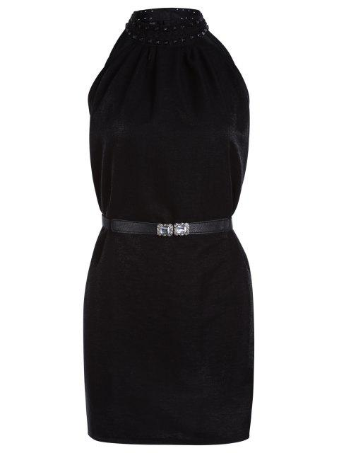 buy Solid Color Rivet Round Neck Sleeveless Dress - BLACK ONE SIZE(FIT SIZE XS TO M) Mobile