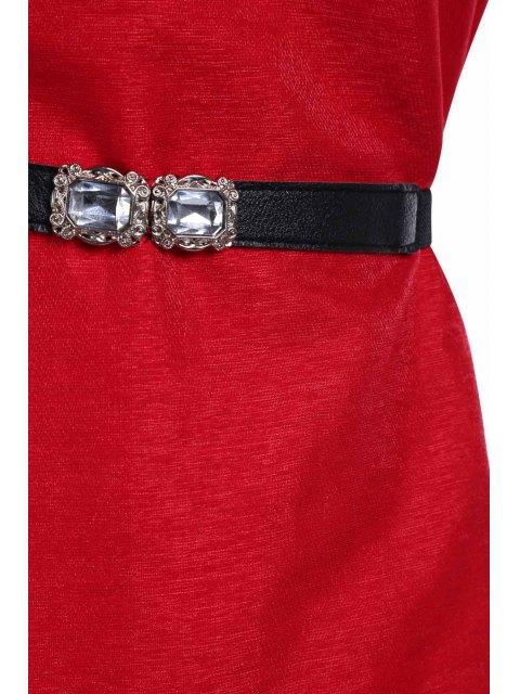 Solide Couleur Rivet col rond Robe sans manches - Rouge Taille Unique(S'adap Mobile