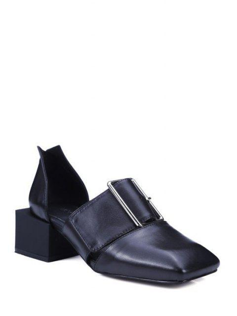 fancy Square Toe Buckle Chunky Heel Pumps - BLACK 39 Mobile