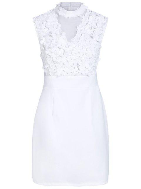 women Flower Patchwork Stand Collar Solid Color Dress - WHITE XL Mobile
