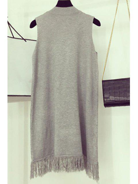 shops Fringe Hollow Out Round Neck Sleeveless Dress - LIGHT GRAY ONE SIZE(FIT SIZE XS TO M) Mobile