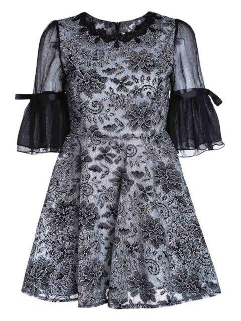 outfits Embroidery Round Collar Puff Sleeves Dress - BLACK XL Mobile