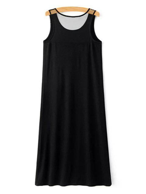 trendy Letter Print Scoop Neck Sundress - BLACK L Mobile