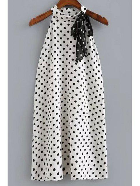 women Polka Dot Print Round Neck Sleeveless Dress - WHITE AND BLACK M Mobile
