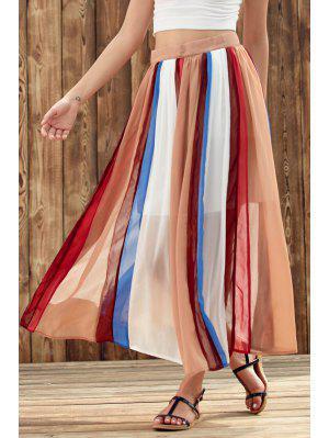 Color Block High Waist Chiffon Skirt - L