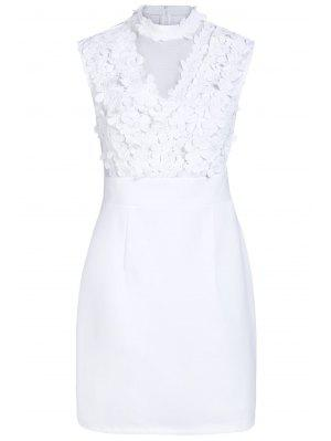 Flower Patchwork Stand Collar Solid Color Dress - White Xl