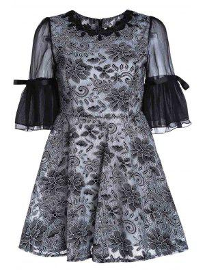 Col Rond Broderie Manches Bouffantes Robe - Noir Xl