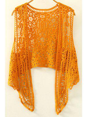 Cut Out Irregular Collarless Sleeveless Crochet Blouse - Ginger