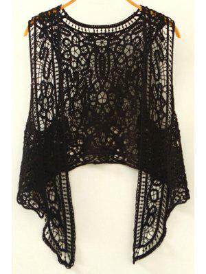 Cut Out Irregular Collarless Sleeveless Crochet Blouse - Black