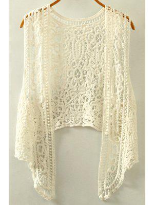 Figura Para Recortar Irregular Gola Mangas Crochet Blusa - Branco