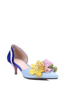 Buy Flower Color Block Two-Piece Pumps - BLUE 38
