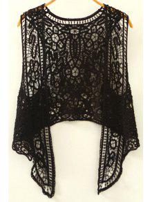 Cut Out Irregular Collarless Sleeveless Crochet Blouse - Black