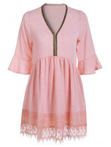 Lace Spliced V Neck Lantern Sleeve Blouse - Pink