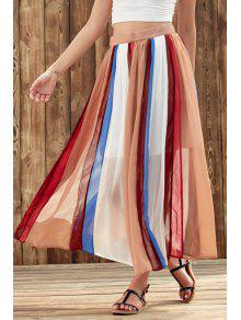 Color Block High Waist Chiffon Skirt - S