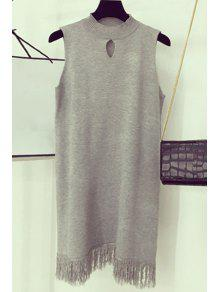 Fringe Hollow Out Round Neck Sleeveless Dress - Light Gray