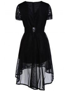 5de945489d 29% OFF  2019 Lace V-Neck Short Sleeve Belted Dress In BLACK