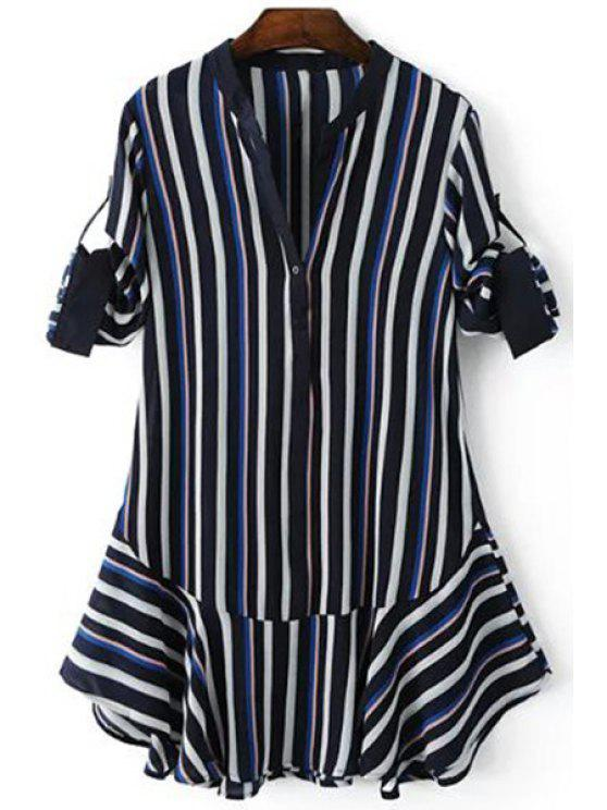 shop Striped Hit Color V Neck 3/4 Sleeve Dress - PURPLISH BLUE M