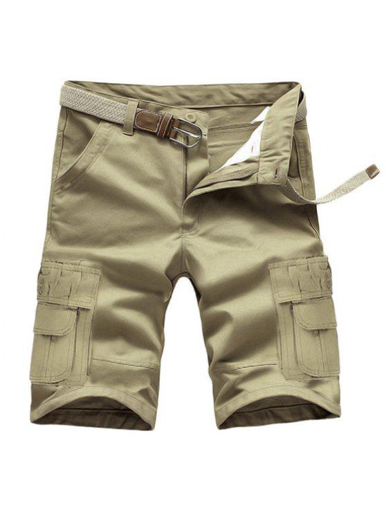 women Loose Fit Summer Pockets Solid Color Cargo Shorts For Men - LIGHT KHAKI 28