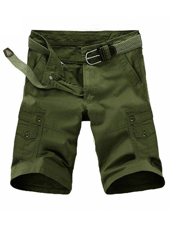 outfits Loose Fit Summer Pocket Solid Color Cargo Shorts For Men - ARMY GREEN 32