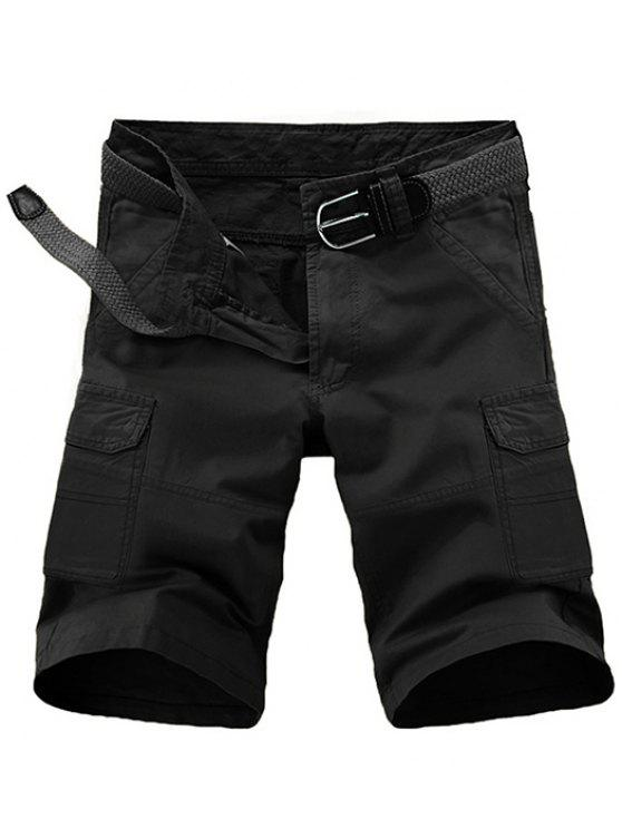 hot Loose Fit Pockets Solid Color Cargo Shorts For Men - BLACK 33