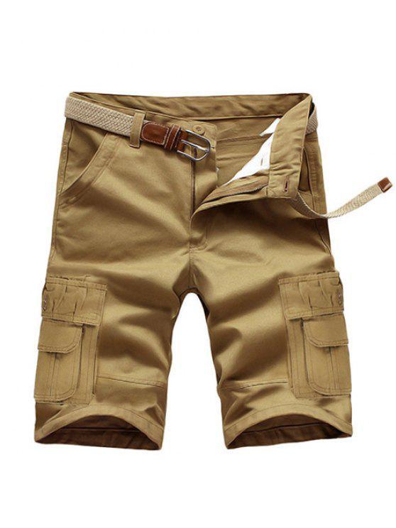 trendy Loose Fit Summer Pockets Solid Color Cargo Shorts For Men - DARK KHAKI 33