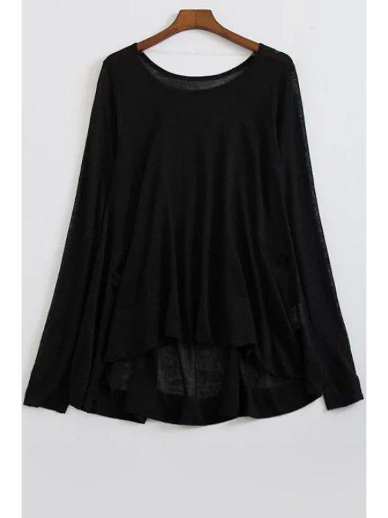 hot Loose High-Low Round Neck Long Sleeve Sweater - BLACK ONE SIZE(FIT SIZE XS TO M)
