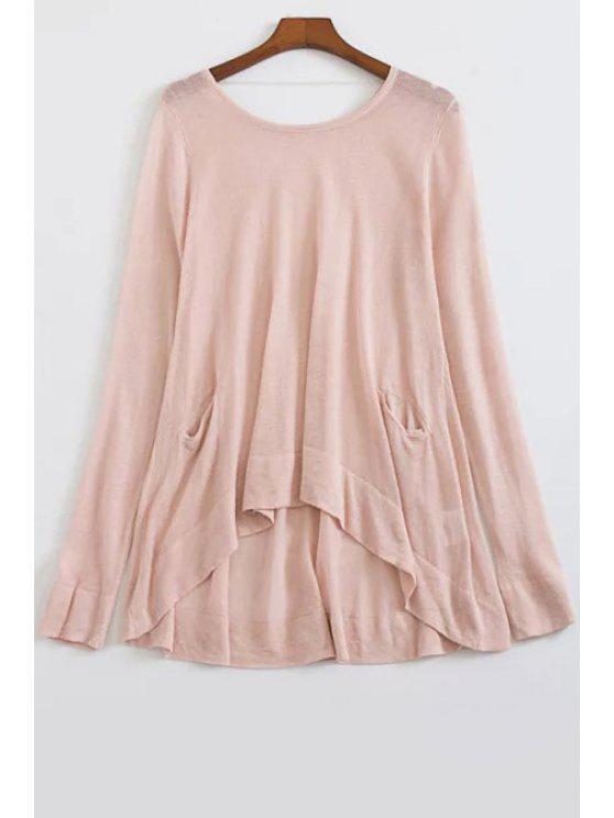 Suelta de mayor a menor cuello redondo suéter manga larga - Rosa Un tamaño(Montar tam