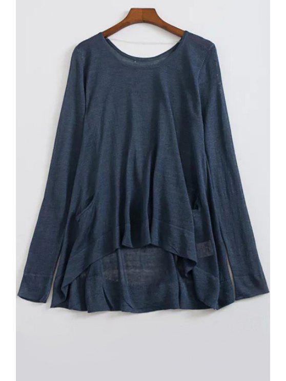 Suelta de mayor a menor cuello redondo suéter manga larga - Azul Marino  Un tamaño(Montar tam