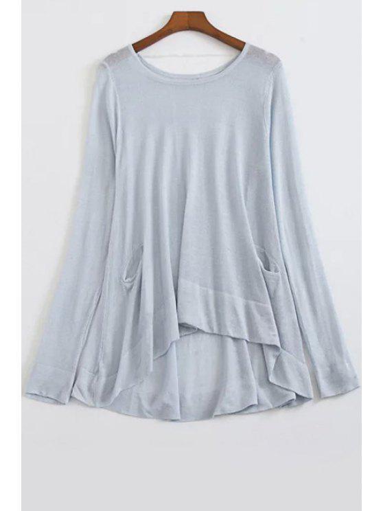 Solta Alto baixo em torno do pescoço camisola de manga longa - Azul claro Tamanho Único(Ajusta