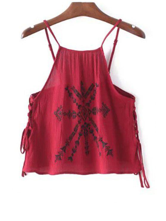 women Lace-Up Embroidery Spaghetti Straps Tank Top - RED S