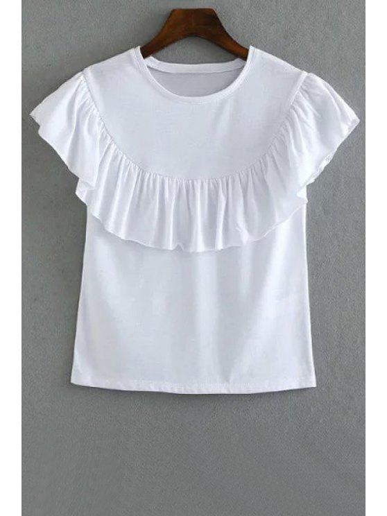 T-shirt couleur unie Flounce Ruffles col rond manches courtes - Blanc M