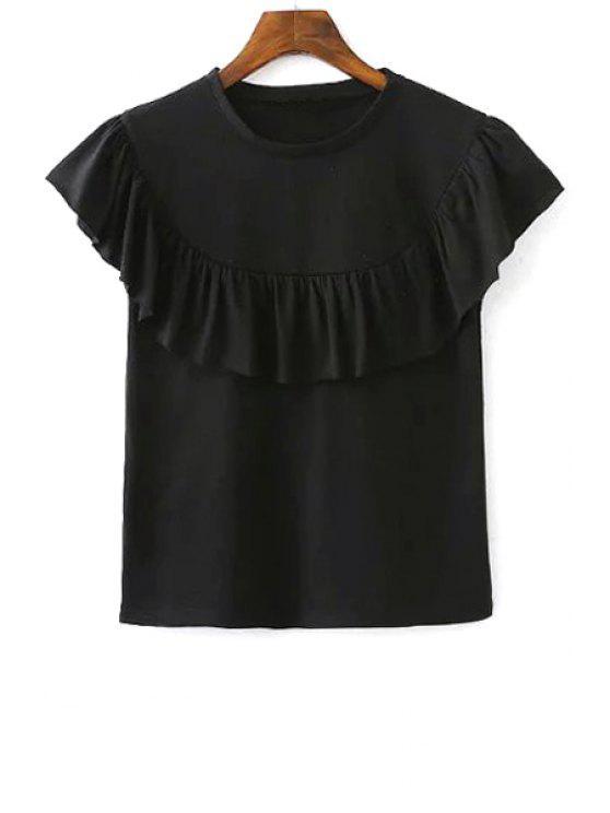 T-shirt cor sólida Flounce Ruffles em torno do pescoço de manga curta - Preto L