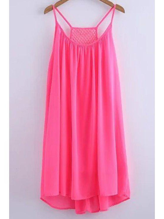 outfits Chiffon Mesh Design Flippy Dress - PINK M