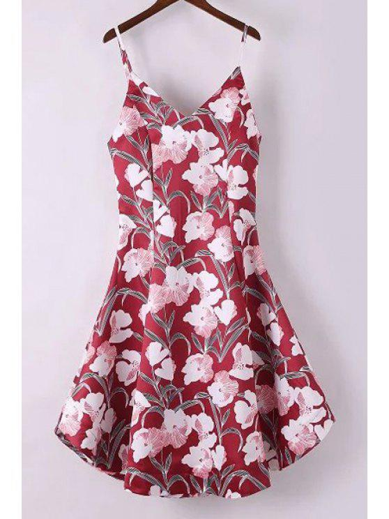 latest Fitting Floral Print Spaghetti Straps Sleeveless Dress - RED L